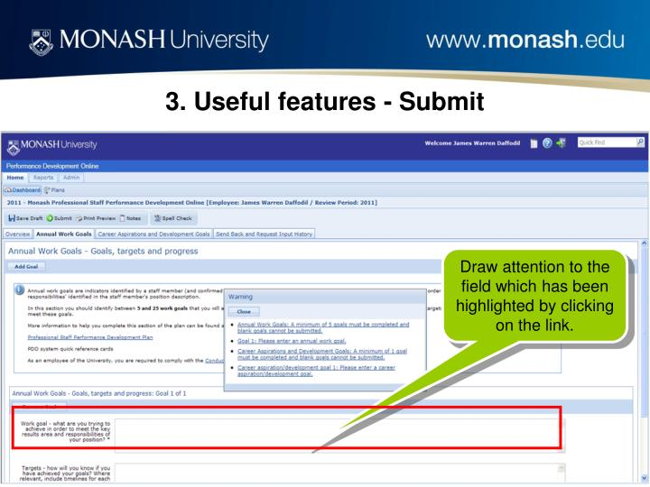 3. Useful features - Submit