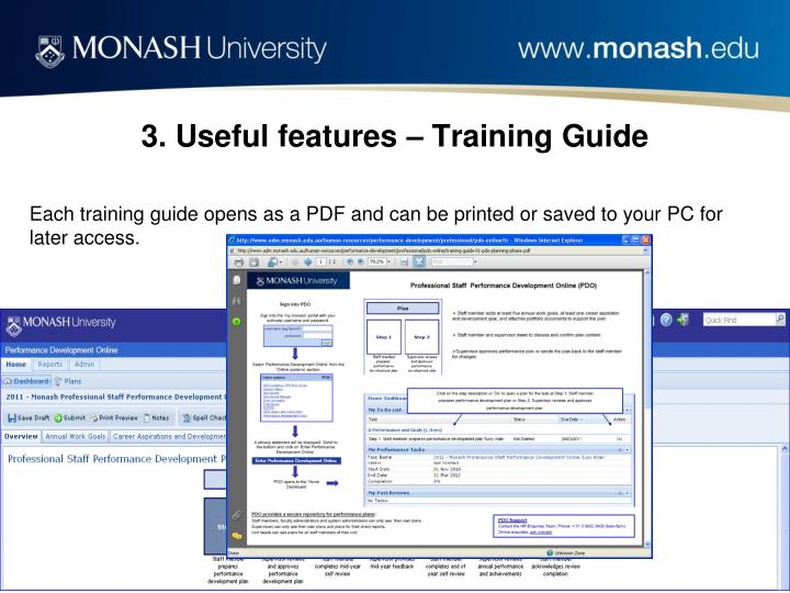 3. Useful features – Training Guide