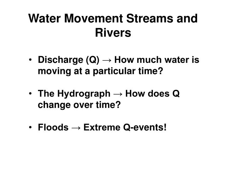 Water Movement Streams and Rivers
