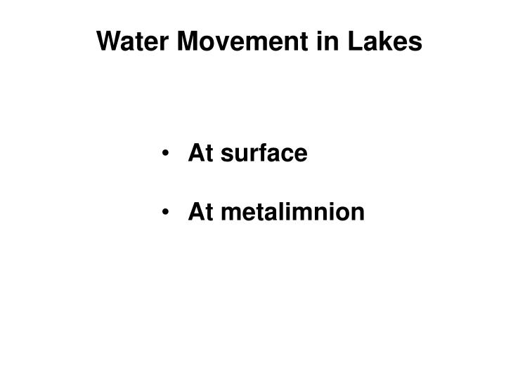 Water Movement in Lakes