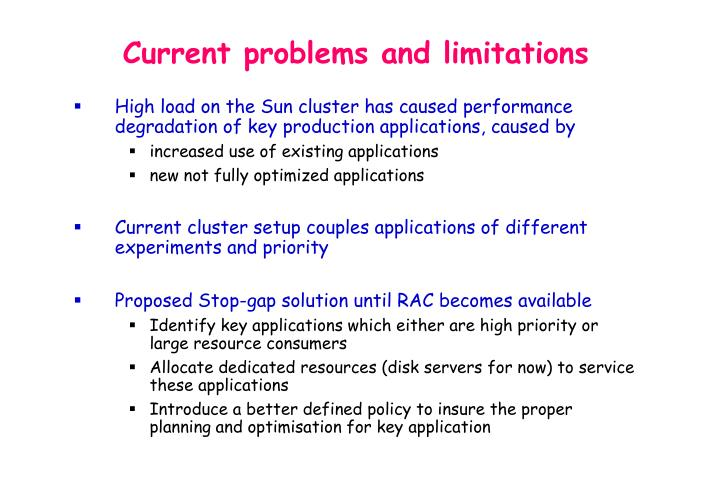Current problems and limitations
