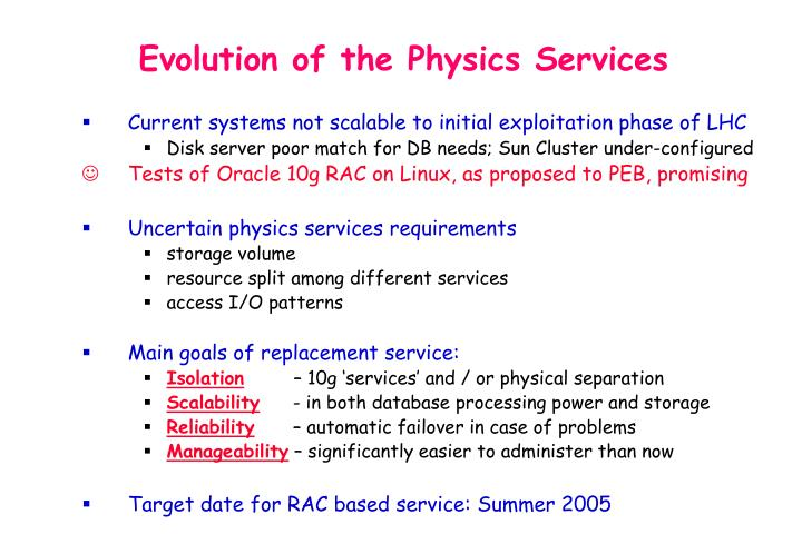 Evolution of the Physics Services