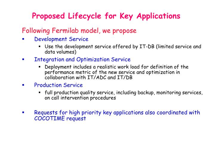 Proposed Lifecycle for Key Applications