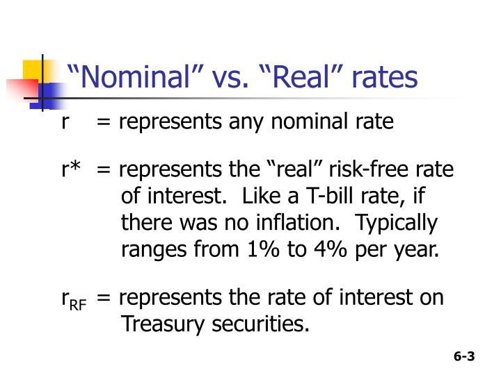 """""""Nominal"""" vs. """"Real"""" rates"""