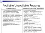 available unavailable features