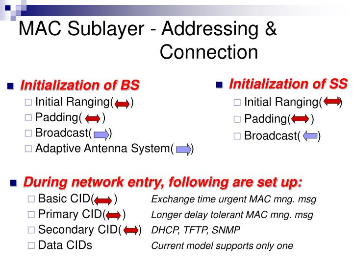 MAC Sublayer - Addressing & 					Connection
