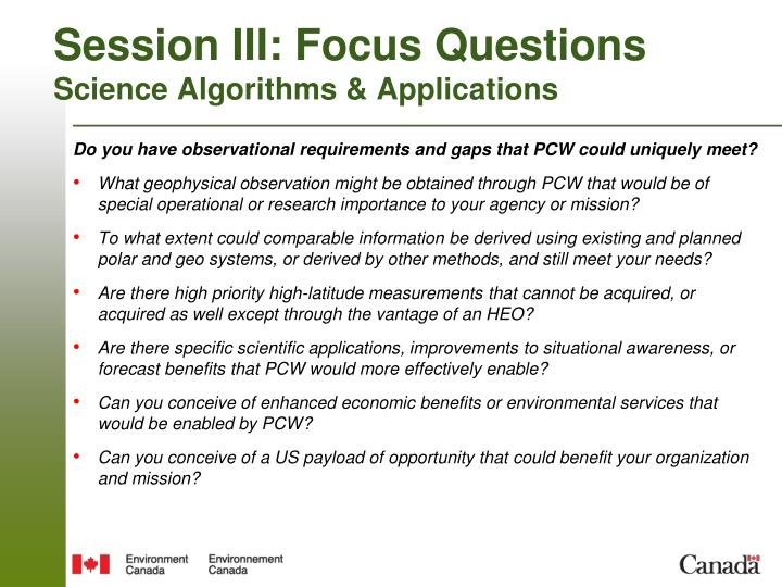 Session III: Focus Questions
