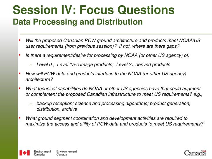 Session IV: Focus Questions