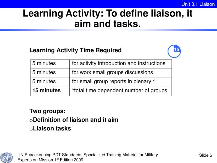 Learning Activity: To define liaison, it aim and tasks.