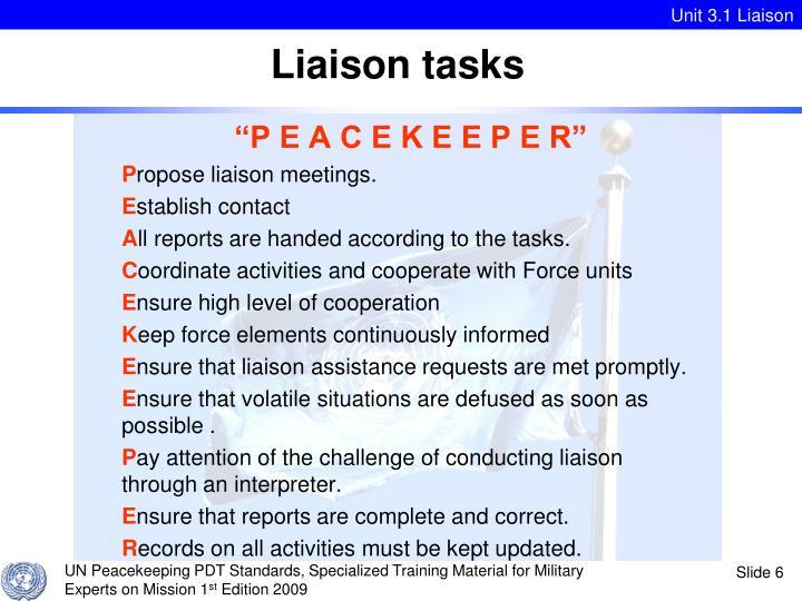 Liaison tasks