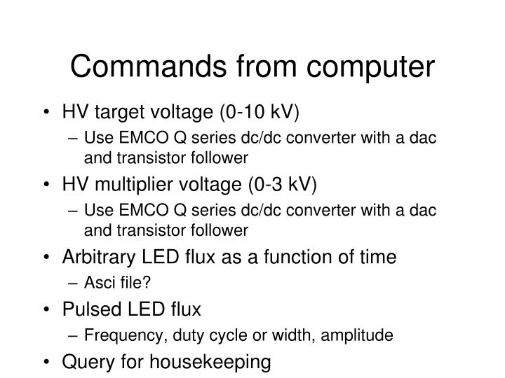 Commands from computer