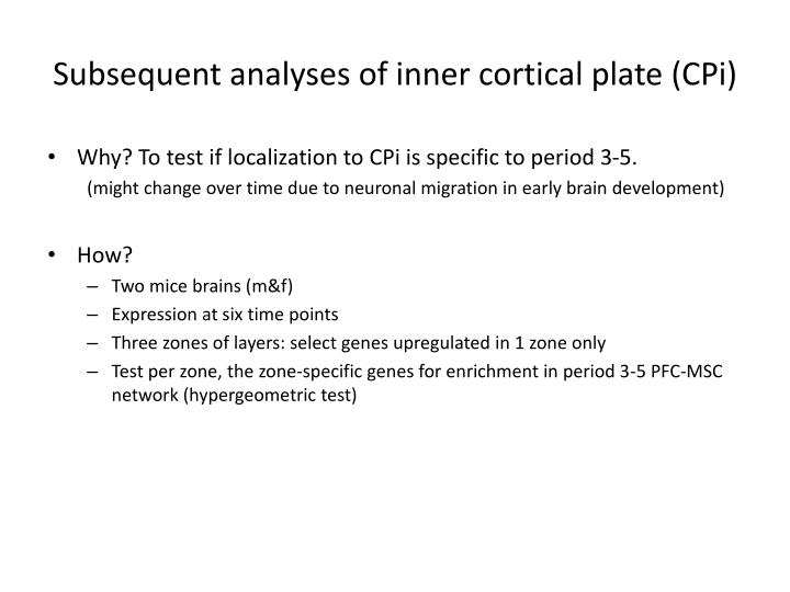 Subsequent analyses of inner cortical plate (CPi)
