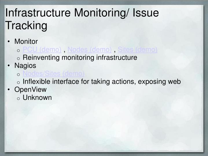 Infrastructure monitoring issue tracking