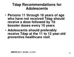 tdap recommendations for adolescents