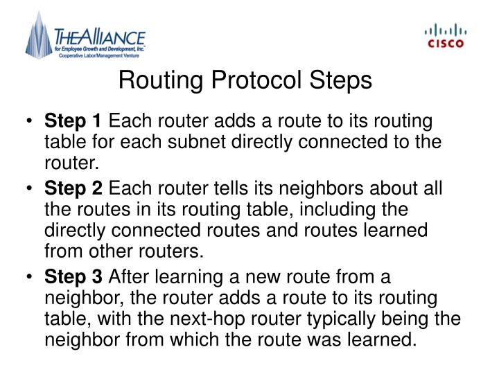Routing Protocol Steps