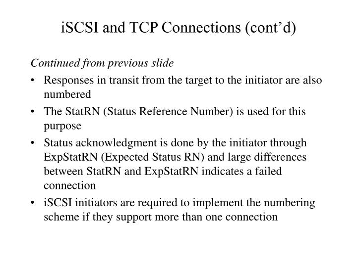 iSCSI and TCP Connections (cont'd)