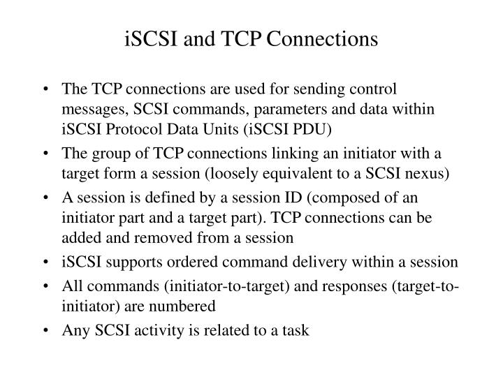 iSCSI and TCP Connections