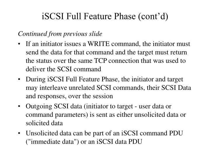 iSCSI Full Feature Phase (cont'd)