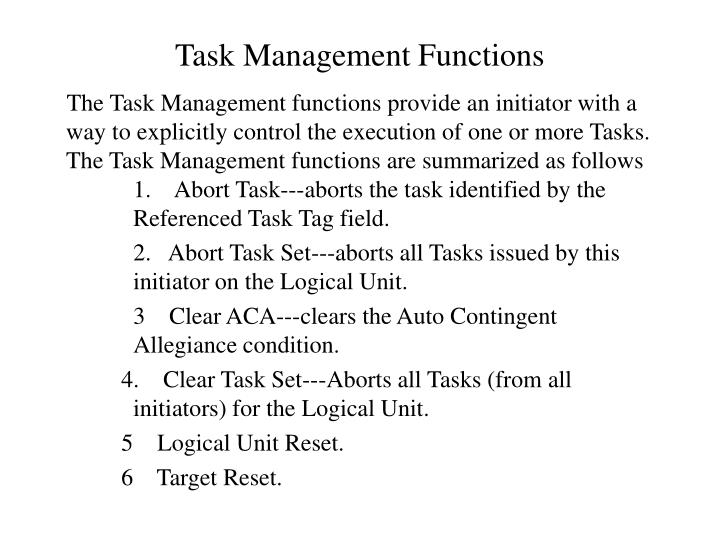 Task Management Functions
