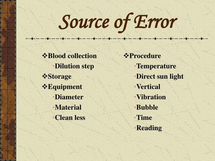 Source of Error