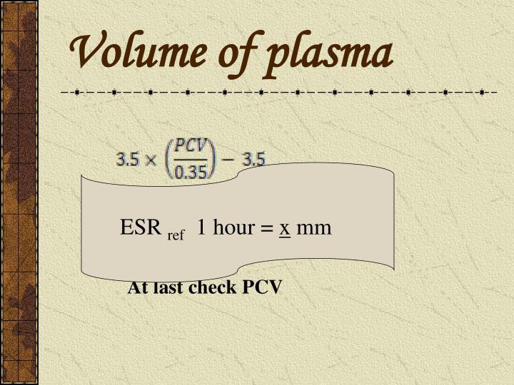 Volume of plasma