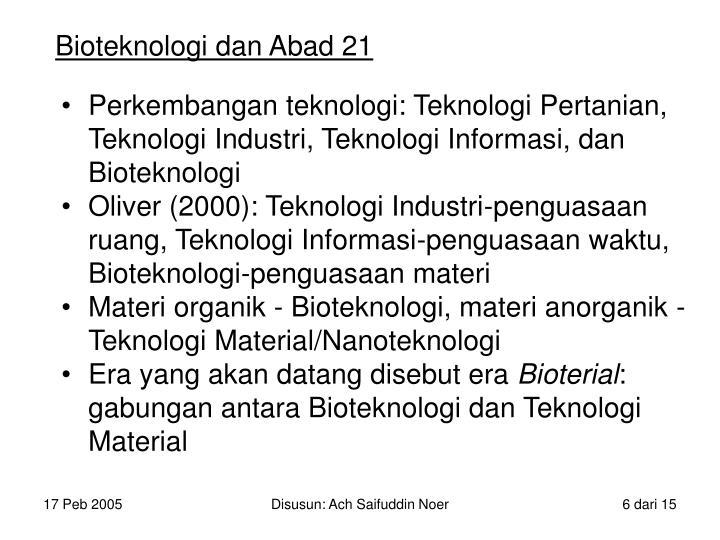 Bioteknologi dan Abad 21