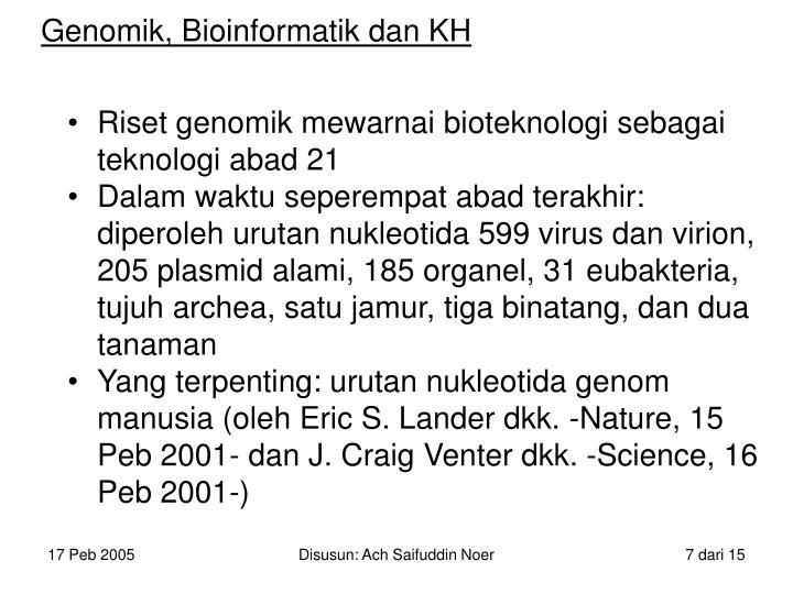 Genomik, Bioinformatik dan KH