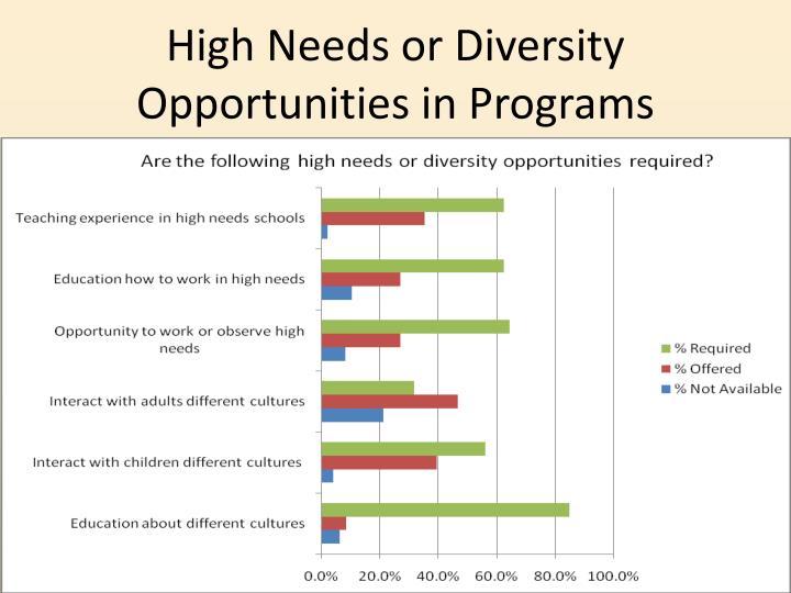 High Needs or Diversity Opportunities in Programs