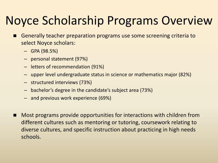Noyce Scholarship Programs Overview
