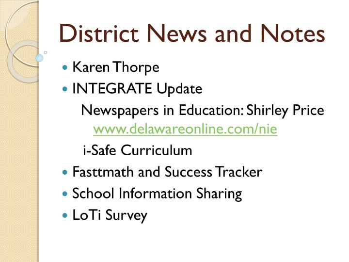 District News and Notes