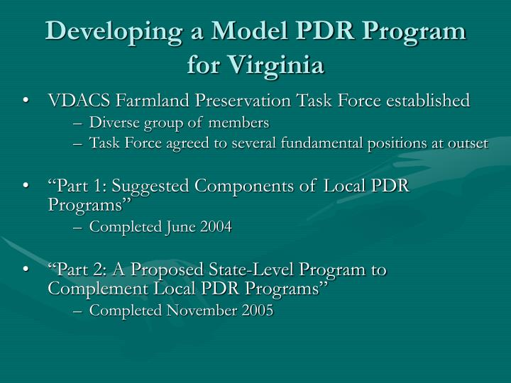 Developing a Model PDR Program