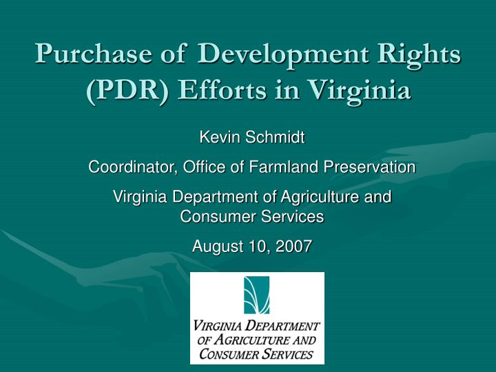 Purchase of development rights pdr efforts in virginia