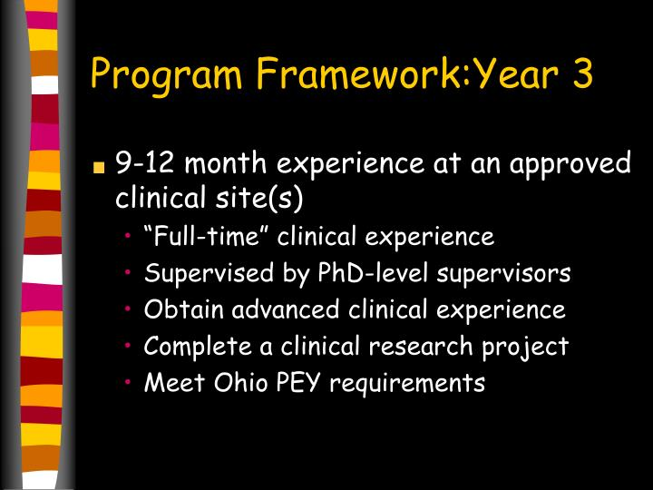 Program Framework:Year 3