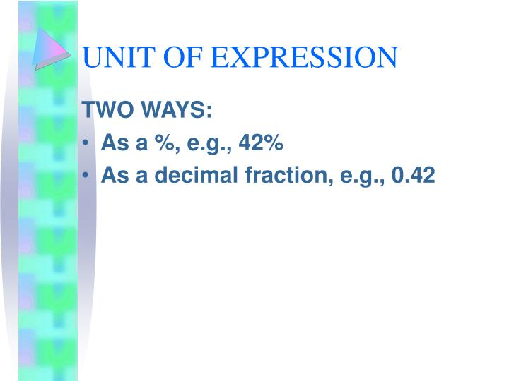 UNIT OF EXPRESSION