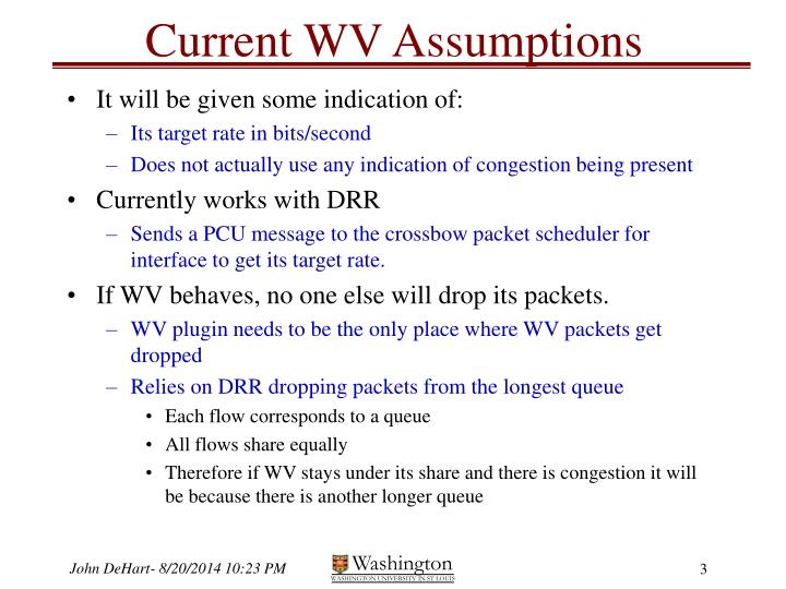 Current WV Assumptions