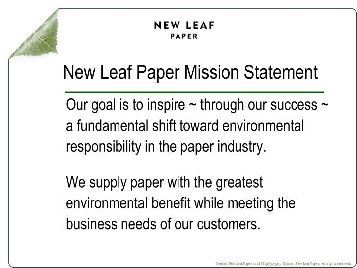 New Leaf Paper Mission Statement