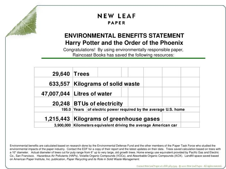 ENVIRONMENTAL BENEFITS STATEMENT