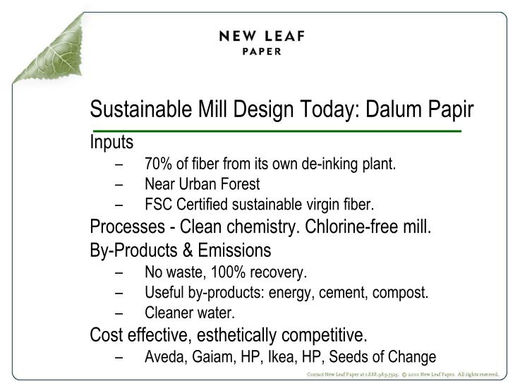Sustainable Mill Design Today: Dalum Papir