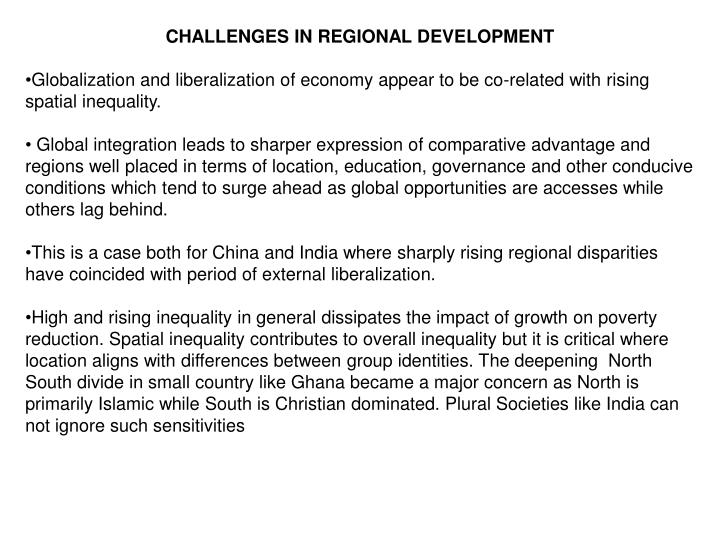CHALLENGES IN REGIONAL DEVELOPMENT