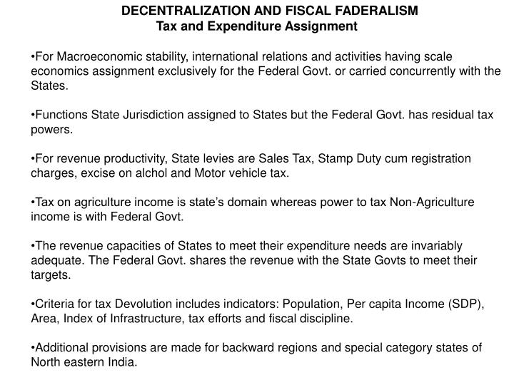 DECENTRALIZATION AND FISCAL FADERALISM