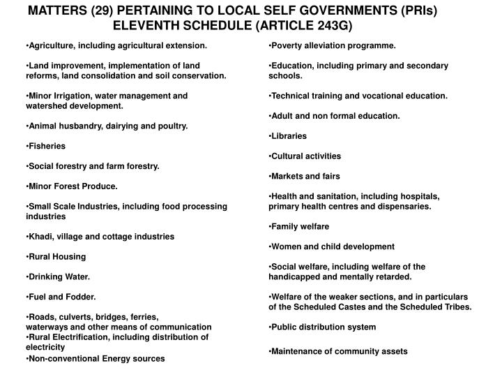 MATTERS (29) PERTAINING TO LOCAL SELF GOVERNMENTS (PRIs)