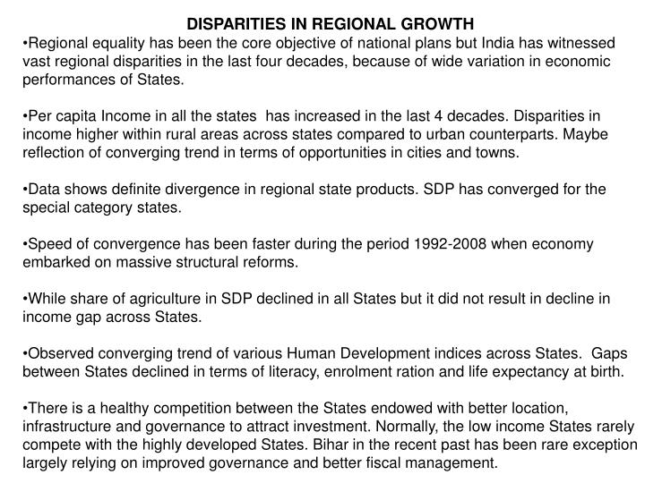 DISPARITIES IN REGIONAL GROWTH