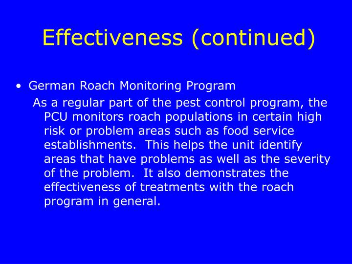 Effectiveness (continued)
