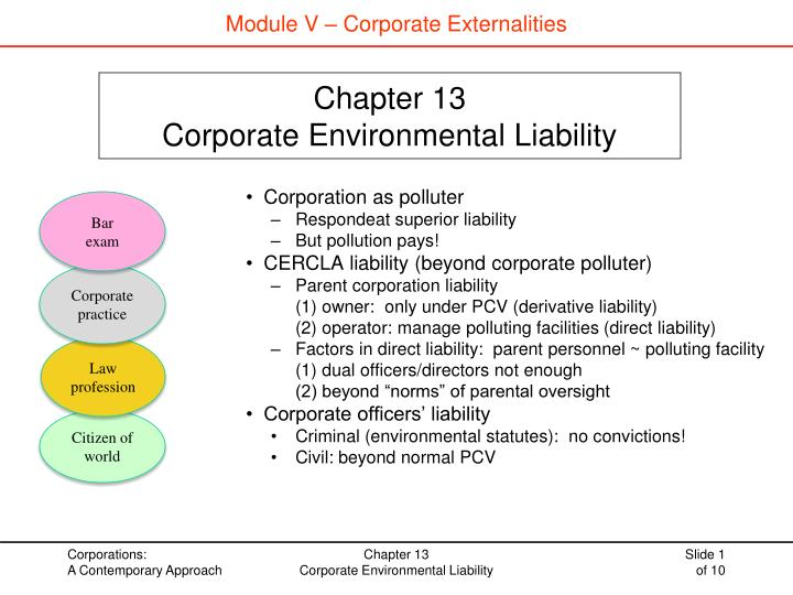 Chapter 13 corporate environmental liability