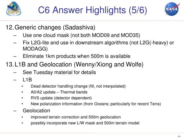 C6 Answer Highlights (5/6)