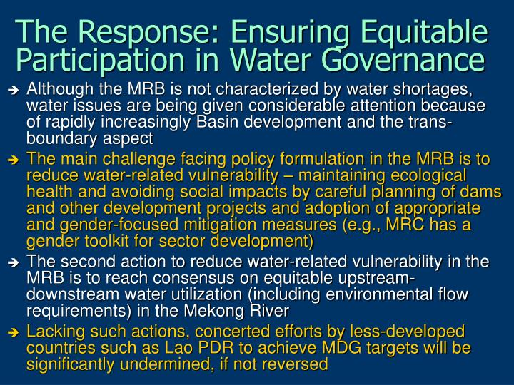The Response: Ensuring Equitable Participation in Water Governance