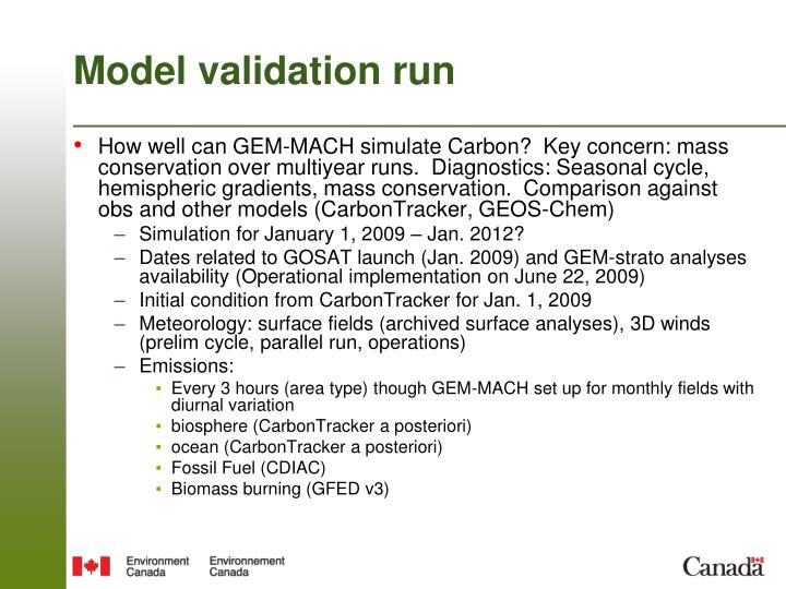 Model validation run