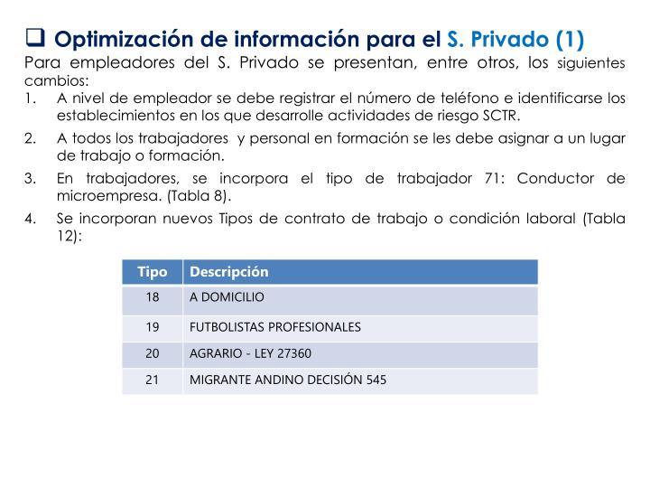 Optimización de información para el