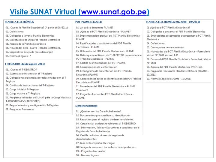 Visite SUNAT Virtual (