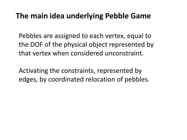 The main idea underlying Pebble Game
